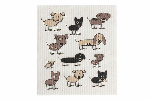 Retro Kitchen Biodegradable Sponge Cloth - Dogs