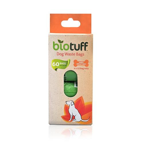 BIOTUFF Dog Waste Bags & Dispenser 4 x 15 Bag Rolls - 60 Bags