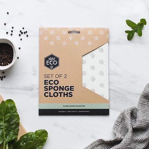Ever Eco Sponge Cloths Scandi Leaves - 2 Pack