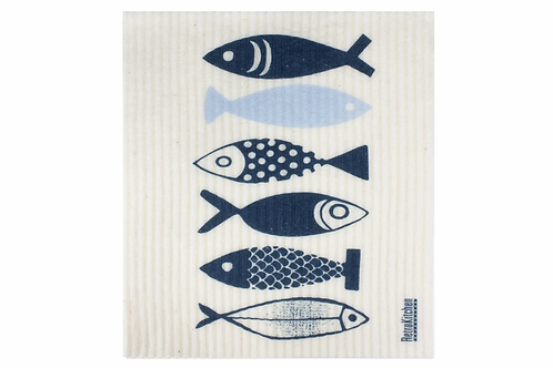 Retro Kitchen Biodegradable Sponge Cloth- Fish