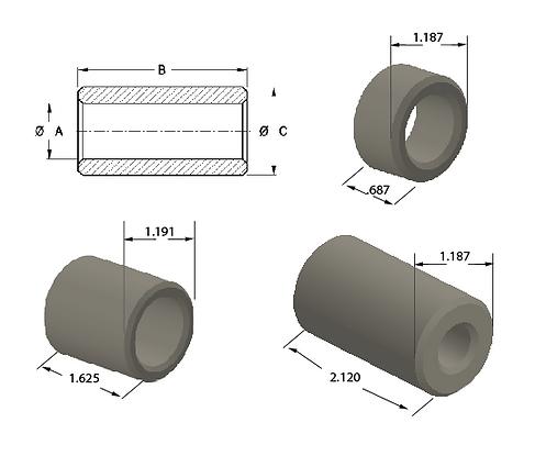Plastic Solid Straight Bearings