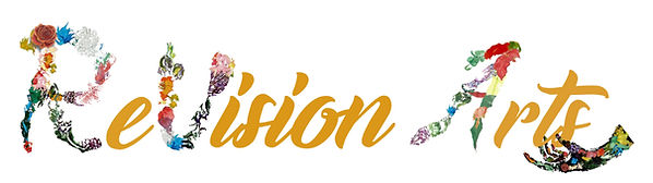 ReVision Arts logo with gold and floral letters.