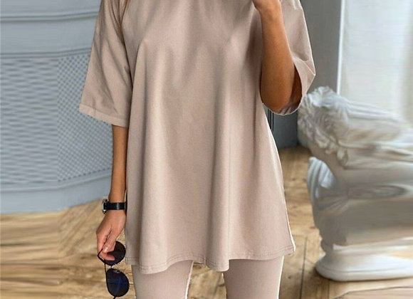 Short Sleeve Shirt Top and Bodycon Short Two Piece Set