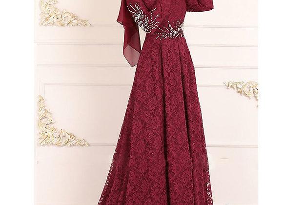 Muslim Women Lace Dress Big Swing Robe