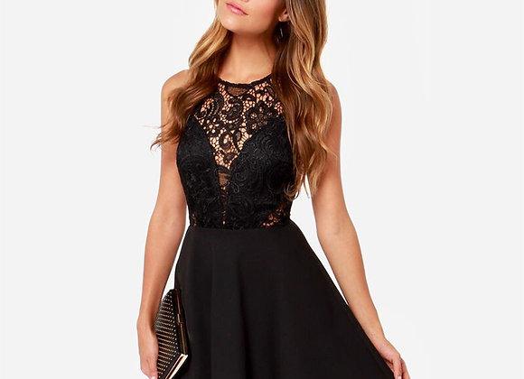 Sexy Sleeveless Lace V-Back Party Dress