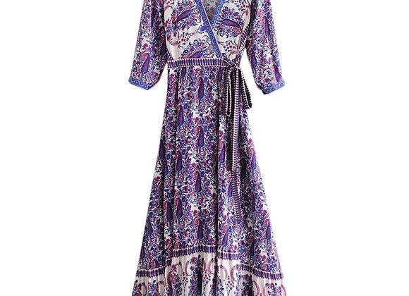 Bohemian Vintage V-Neck Maxi Dress