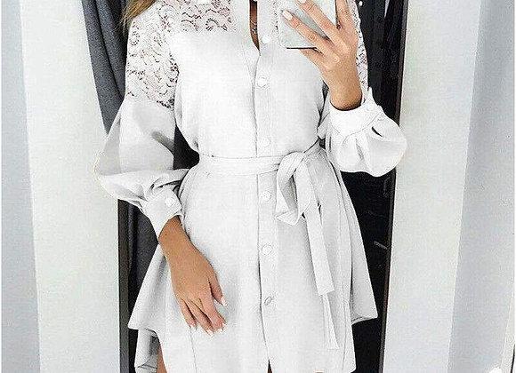 Elegant Lantern Sleeve Collared Mini Dress