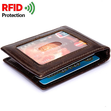 Genuine cow leather with RFID anti theft  mens wallet
