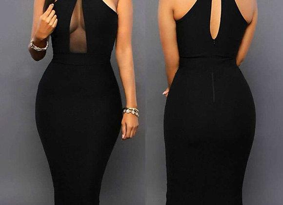 Turtleneck Off Shoulder Sexy Black Dress