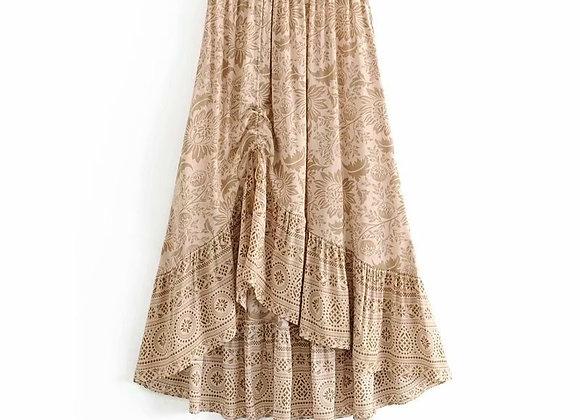 Chic Hippie Boho Floral Printed Elastic Waist Maxi Skirt
