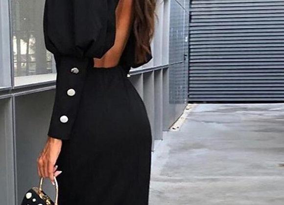 Classy Elegant Lantern Long Sleeve Backless Black Sexy Dress