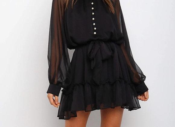 Sexy High Neck Long Sleeve Mini Dress
