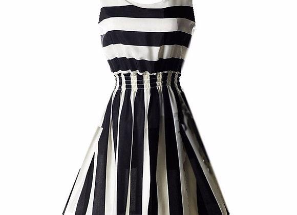 Retro Style Black & White Stripe Sleeveless Mini Dress