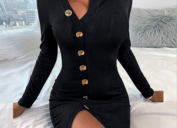 Sexy Button Slit Long Sleeve Knitted Dress