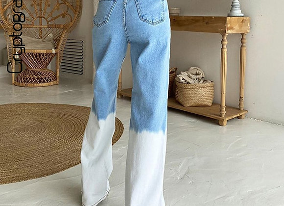 High Waist Jeans with Faded Legs