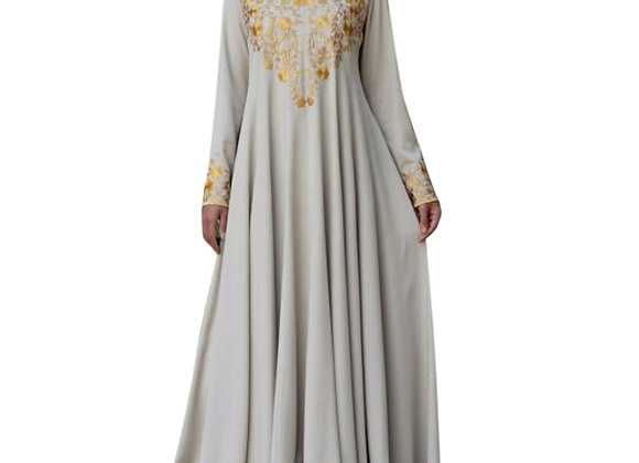 Maxi Long Abaya Dress with Embroidery