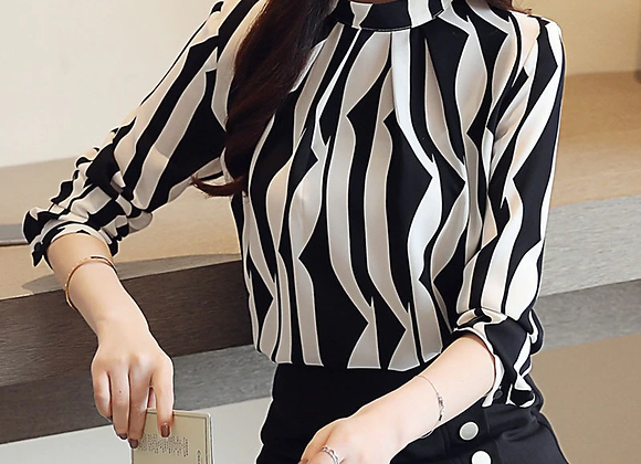 Chiffon Blouses Slim Fit Office Lady Shirts