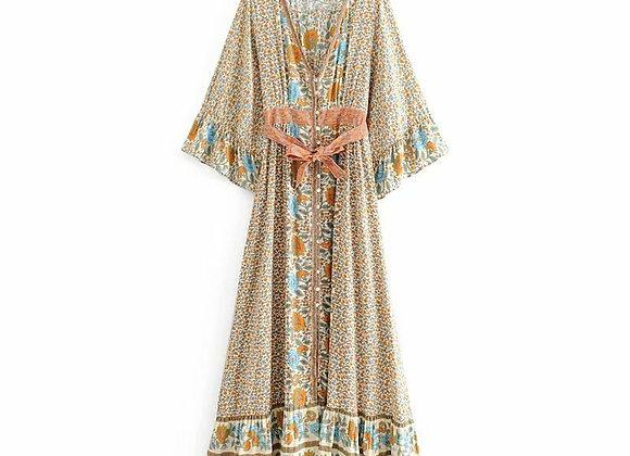 Vintage Chic Boho Floral Print V-Neck Flare Sleeve Maxi Dress