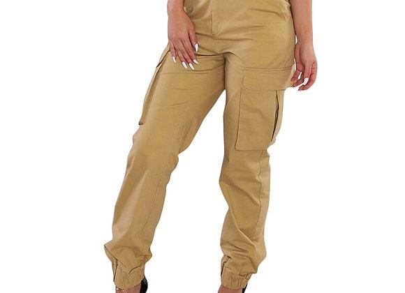 High Waist Slim Cut  Cargo Pants