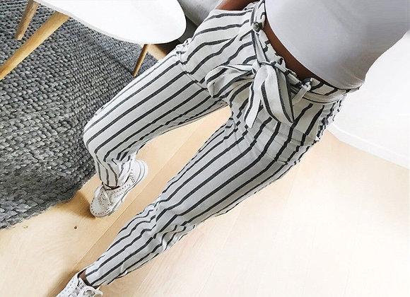 Retro Stripe Pencil Cut w/Sash Pants