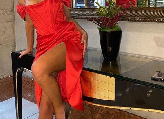 Sexy Off Shoulder High Split Strapless Midi Dress