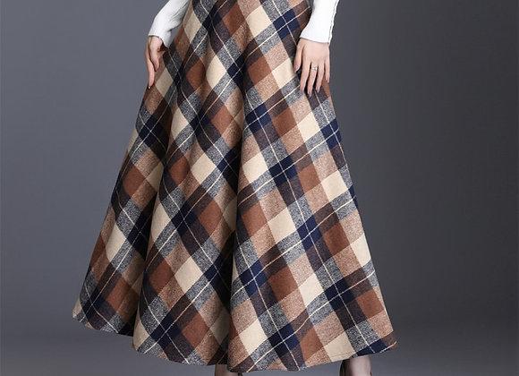 Plaid Tall Waist Long Skirt