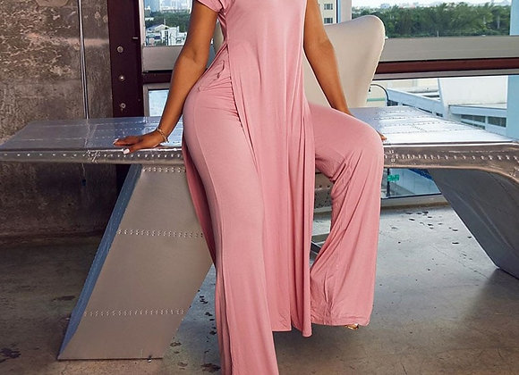 Short Sleeve Shirt and Wide Leg Pants Two Piece Set