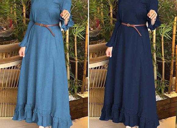 Denim Blue Ruffles Dress
