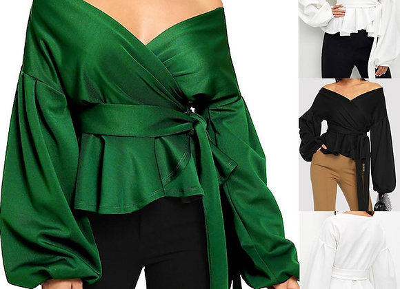 Off Shoulder Lantern Sleeve Blouses