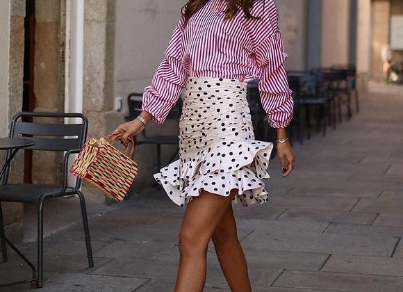 Polka Dot Asymmetrical Mini Skirt