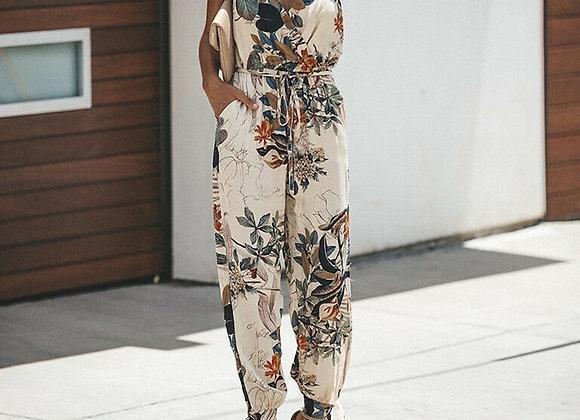 Sleeveless Floral Printed Jumpsuit