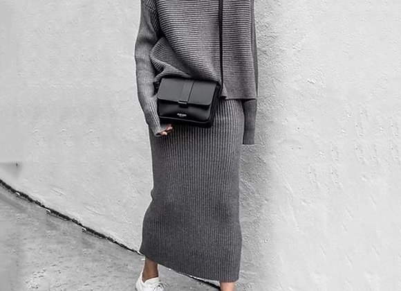 Turtleneck Loose Sweater Long Skirts Bodycon Two Piece Set