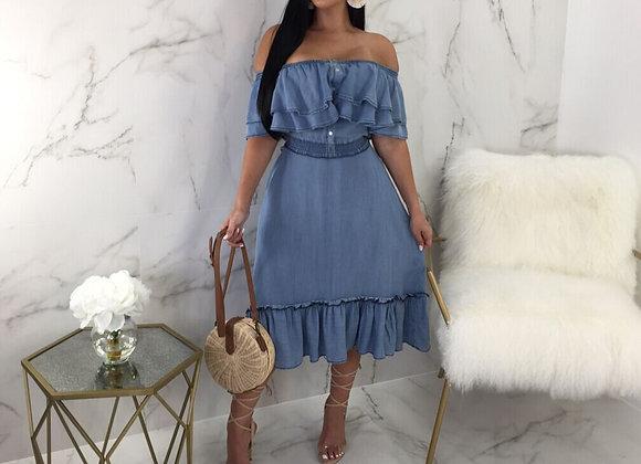 Ruffle Design Denim Midi Dress