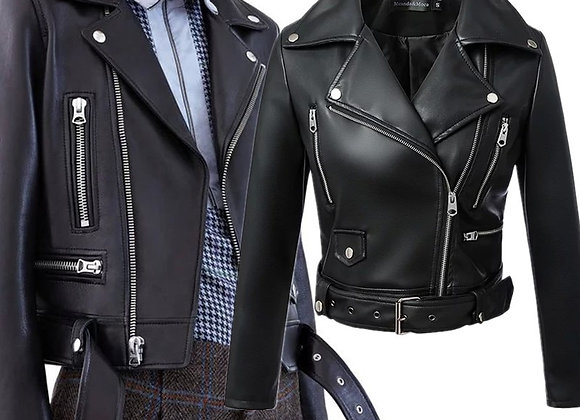 Faux Leather Bicker Jacket with Belt