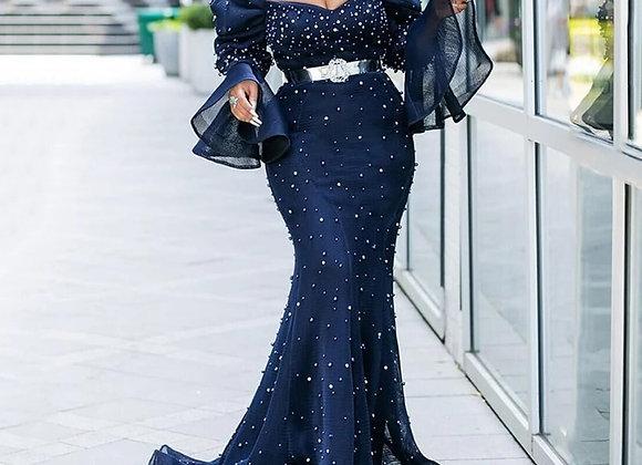 Mermaid Pearl Sparkly Elegant African Dress
