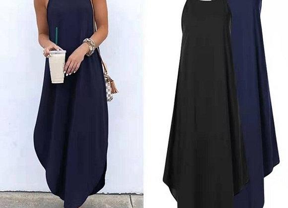 Casual Sleeveless Halter Solid Beach Long Dress