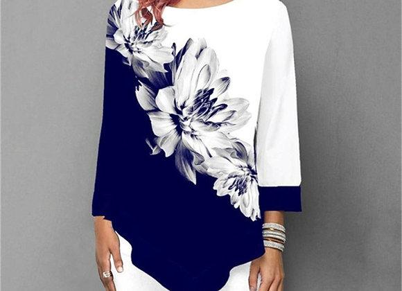Floral Printing Blouse 3/4 Sleeve