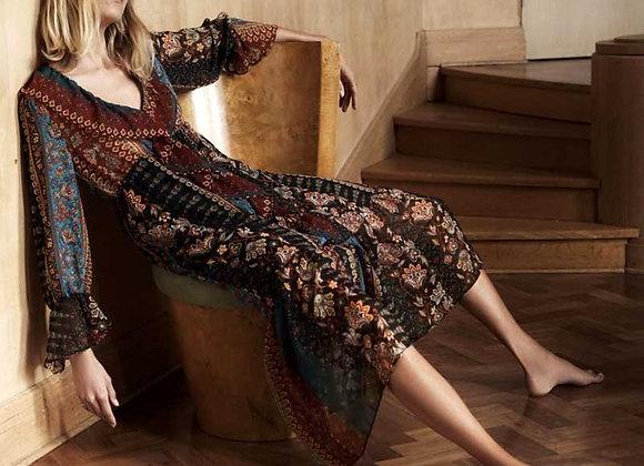 Boho Vintage Floral Patchwork A-Line Ruffle V-Neck Long Sleeve Maxi Dress