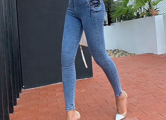 Lace Up Slim Fit Jeans