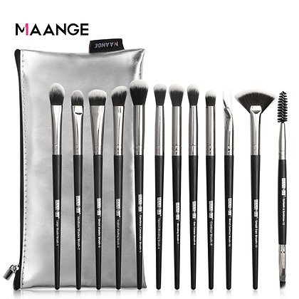 12 Pieces makeup brushes with PU leather case