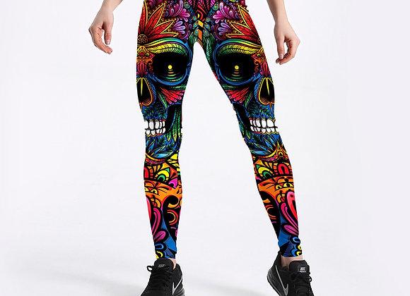 Skull & Leaf Printed Fashion Leggings