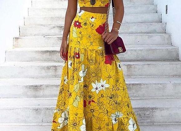 Floral Print Two-Piece Maxi Dress