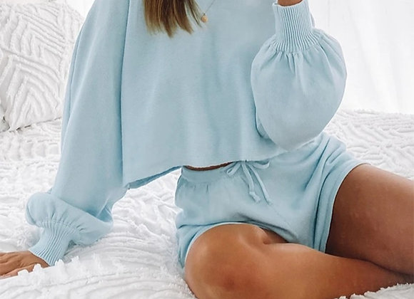 Long Sleeve Loose Shirt Top and Short Set