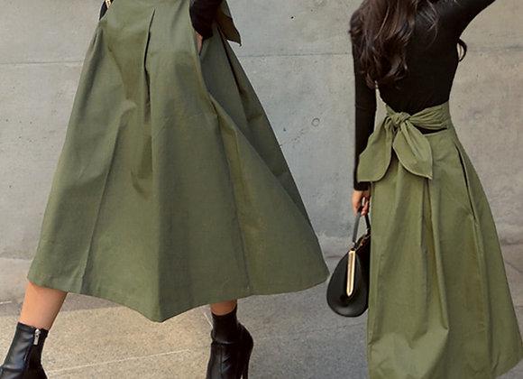High Waist Skirt with Bow