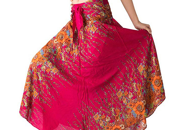 Hippie Gypsy Boho Flowers Long Skirt