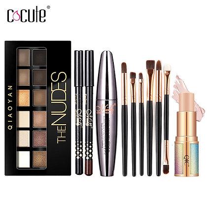 Eyeshadow palette, eyebrow pen and mascara set