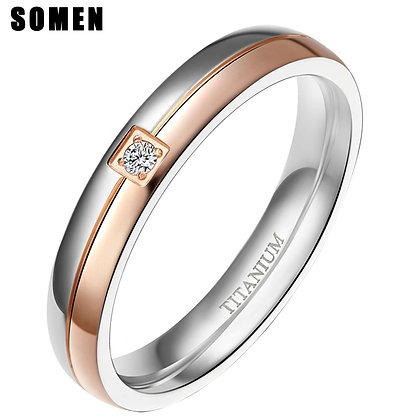 4mm Wedding titanium band with  cubic zirconia  for women