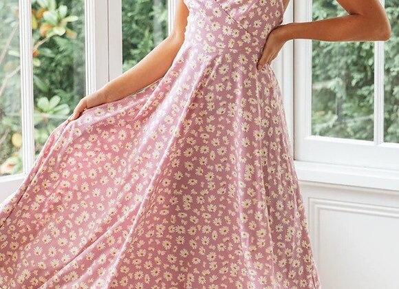 Spaghetti Strap Floral Print Retro Midi Dress