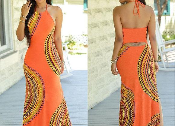 Designer Print Halter Maxi Dress