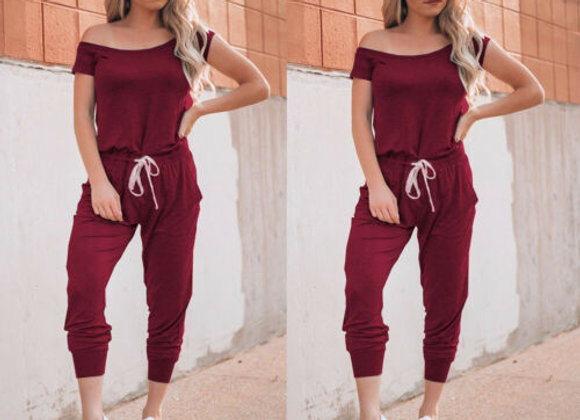 Off Shoulder Bodycon Jumpsuit